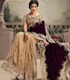Buy Cream embroidered velvet saree with blouse party-wear-saree online