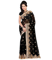Buy black embroidered faux_georgette saree With Blouse designer-embroidered-saree online