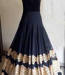 Buy black georgette embroidered semi stitiched party wear gowns party-wear-gown online