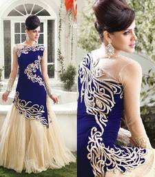 Blue velvet embroidered semi stitiched party wear gown shop online