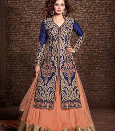 Buy Blue art silk embroidered semi stitiched party wear gown party-wear-gown online