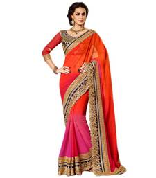 Buy pink embroidered chiffon saree With Blouse chiffon-saree online