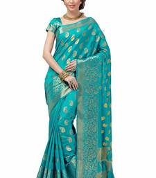 Buy light parrot green woven cotton silk saree With Blouse south-indian-saree online