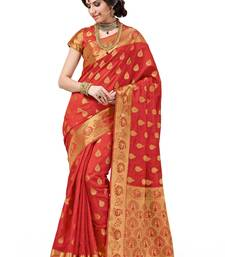 Buy Orange woven cotton silk saree With Blouse south-indian-saree online