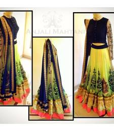 Buy yellow net embroidered  unstitched lehenga choli pakistani-lehenga online