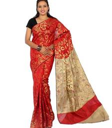 Buy Faux chanderi cotton multi zari resham work saree cotton-saree online