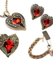 Buy Valentine gifts Heart Combo- Red Heart Necklace set- Set of 4 items valentine-gift online