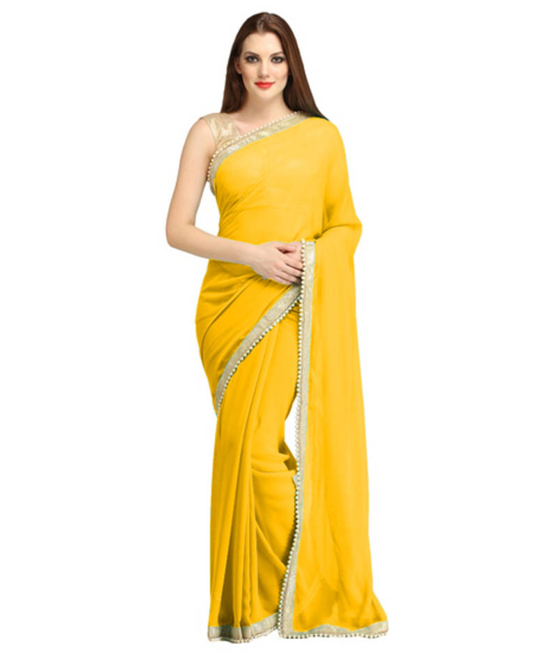 Buy Yellow Georgette Plain Saree Online