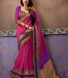 Buy Pink plain wedding saree With Blouse wedding-saree online
