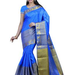 Buy Blue woven tussar silk saree With Blouse tussar-silk-saree online
