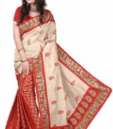 Buy multicolor printed bhagalpuri_silk saree With Blouse below-400 online