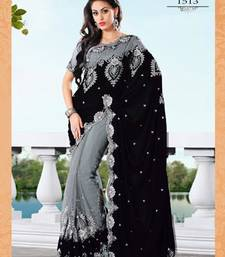Buy black & blue  embroidered georgette saree With Blouse designer-embroidered-saree online