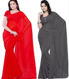 Buy Red and Grey plain georgette saree with blouse sarees-combo-sari online