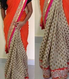 Buy Orange georgette and cream jute saree georgette-saree online