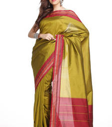 Buy Sublime Olive Green Art Silk Saree with Red Border  art-silk-saree online