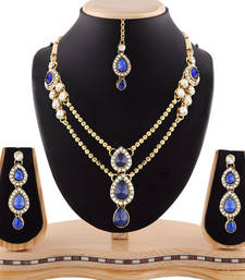 Buy Gracefull design blue austrian stone gold finishing necklace set with maang tikka necklace-set online