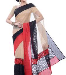 Buy Multicolor embroidered super net saree With Blouse supernet-saree online