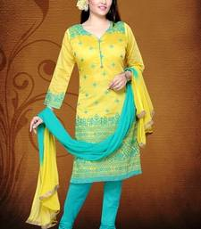 Buy Yellow and Aqua Blue chanderi party stitched salwar with dupatta readymade-suit online
