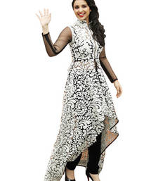 Buy Black and  white georgette embroidered semi stitched kurti eid-kurti online