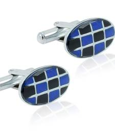 Buy Oval blue black checks enamel rhodium plated cufflink for men cufflink online