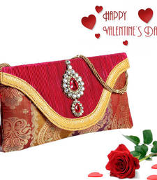 Buy Red Tissue Envelope clutch and Real Feather Rose hamper clutch online
