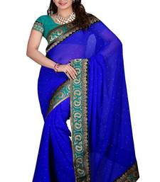 Buy blue chiffon with border avantika saree  chiffon-saree online