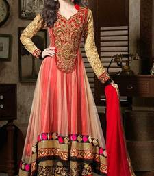 Buy red embroidered faux georgette unstitched salwar with dupatta party-wear-salwar-kameez online