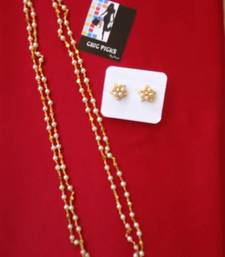 Buy Pearl double string Mala with earrings Necklace online