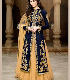 Buy navy blue net embroidered semi stitiched salwar with dupatta anarkali-salwar-kameez online