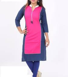 Buy Pink cotton printed stitched kurti cotton-kurti online