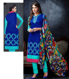 Buy Blue and cyan cotton embroidered unstitched salwar with dupatta dress-material online