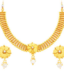 Buy Charming Laxmi Temple Coin Gold Plated Necklace Set For Women necklace-set online