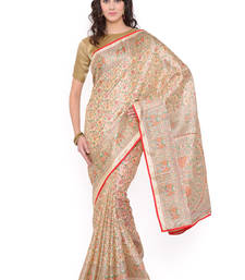 Buy beige printed cotton saree With Blouse tussar-silk-saree online