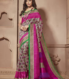 Buy Multicolor Printed cotton_silk saree With Blouse cotton-saree online