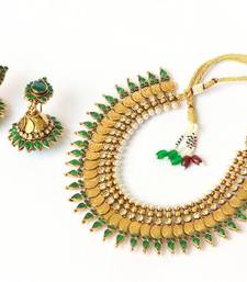 Pearl polki lakshmi layered GREEN drop - nkj1402G shop online