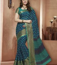 Buy Green,Blue printed Gadwal Cotton saree With Blouse kalamkari-saree online