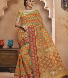 Buy Orange,Yellow printed Gadwal Cotton saree With Blouse kalamkari-saree online