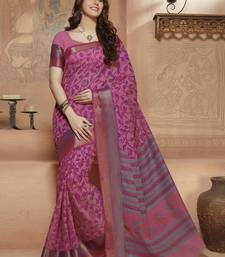 Buy Pink printed Gadwal Cotton saree With Blouse kalamkari-saree online