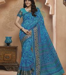 Buy Blue printed Gadwal Cotton saree With Blouse kalamkari-saree online