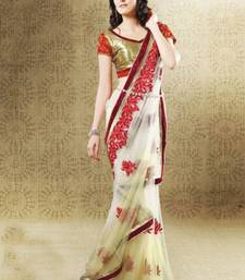 Buy Cream satin dew drop Embroidered Saree SC2517 satin-saree online