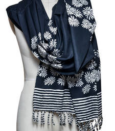Buy Black printed rayon stole and dupattas stole-and-dupatta online