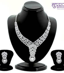 Buy Sukkhi Magnificent Rhodium plated AD Stone Studded Necklace Set 1094VN1750 necklace-set online