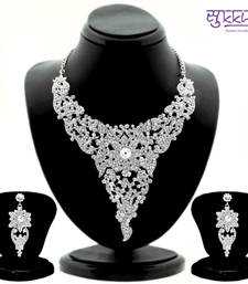 Buy Sukkhi Attractive Rhodium plated AD Stone Studded Necklace Set 1099VN2100 necklace-set online