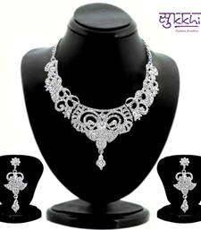 Buy Sukkhi Bewitching Rhodium plated AD Stone Studded Necklace Set 1103VN1500 necklace-set online