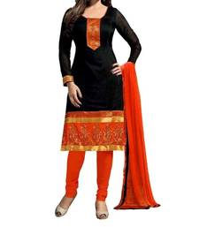 Buy Black and orange crap printed unstitched salwar with dupatta dress-material online