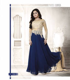 Navy blue georgette embroidered semi stitched salwar with dupatta shop online