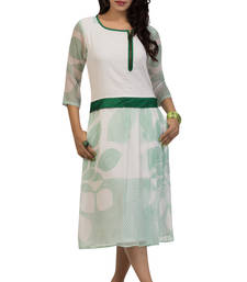 Buy White and green georgette printed stitched kurti georgette-kurti online