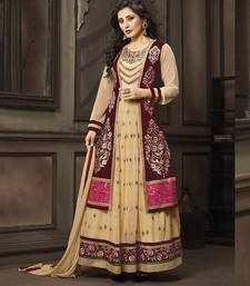 Buy Cream embroidered georgette semi stitched salwar with dupatta indowestern online