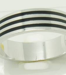 Buy Band with Black Lines with Silver for Male Ring online