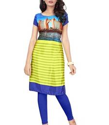 Buy Blue and green printed crepe semi stitched kurti kurtas-and-kurti online